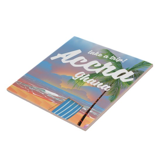 Den Accra Ghana stranden reser affischen Kakelplatta
