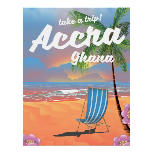 Den Accra Ghana stranden reser affischen Poster