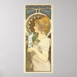 Den Alfons Mucha kvinnan profilerar art nouveau Poster