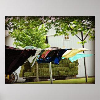 Den Amish kläder fodrar och hövagnen Poster