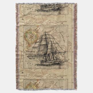 Den antika Europa kartafrakten seglar nautisk Filt