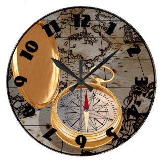 Den antika kompasset på en karta tar tid på stor klocka