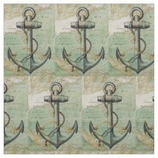 Den antika nautiska kartan & ankrar tyg vid gården