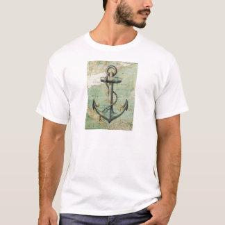 Den antika nautiska kartan med ankrar t shirts