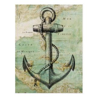 Den antika nautiska kartan med ankrar vykort