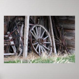 Den antika vagnen rullar poster