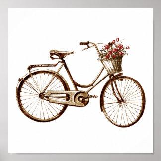 Den antika vintagecykelbasketen blommar rotrycket poster