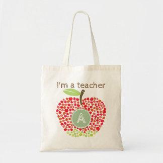 Den Apple monogramen hänger lös för lärare Budget Tygkasse
