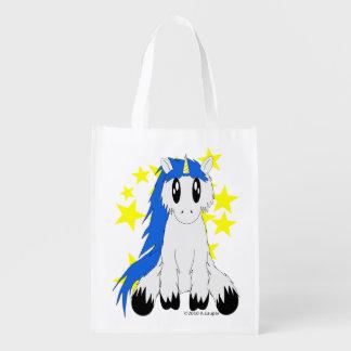 Den återvinningsbara gulliga Scruffy unicornen Återanvändbar Påse