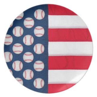 Den återvinningsbara stora baseball & amerikanska tallrik