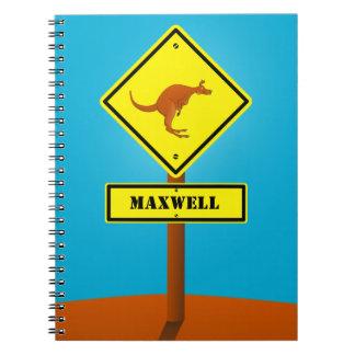 Den Australien kängurun undertecknar Anteckningsbok Med Spiral