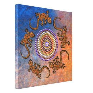 Den australiensiska Aboriginal-stil geckoen cirkla Canvasduk Med Gallerikvalitet
