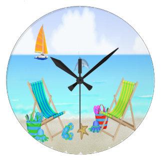 Den avslappnande strandrundaväggen tar tid på stor klocka