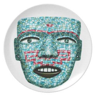 Den Aztec mosaiken maskerar pläterar Tallrik
