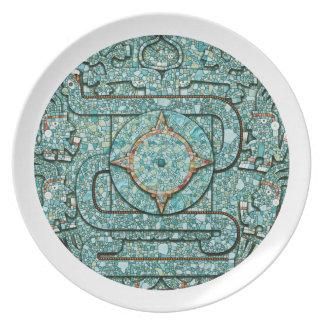 Den Aztec mosaiken skyddar pläterar Tallrik
