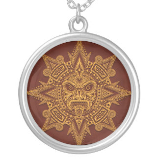 Den Aztec solen maskerar - guld- rött Silverpläterat Halsband