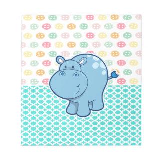 Den baby blue flodhästen på färgrikt knäppas anteckningsblock