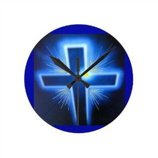 Den bakbelysta blåttkor rund klocka