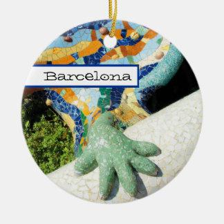 Den Barcelona ödlan räcker mosaik Julgransprydnad Keramik