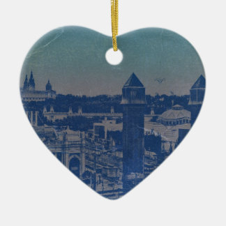 Den Barcelona staden centrerar kvadrerar Hjärtformad Julgransprydnad I Keramik