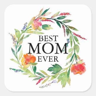 Den bäst Text-Persikan för mamman blommar någonsin Fyrkantigt Klistermärke
