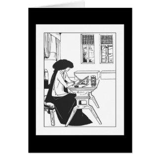 Den Beardsley Isolde art nouveau noterar kortet OBS Kort