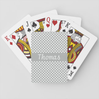Den beställnings- grå färg- och vitpolkaen pricker casinokort