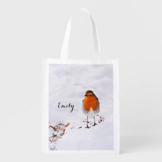 Den beställnings- gulliga Robin fågeln i snö Återanvändbar Påse
