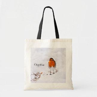 Den beställnings- gulliga Robin fågeln i snö Budget Tygkasse