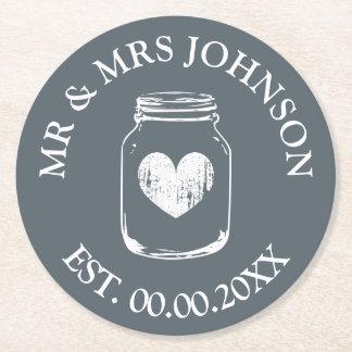 Den beställnings- mr- och för mrs mason underlägg papper rund