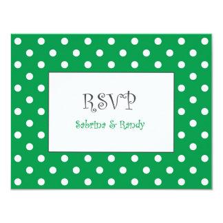Den beställnings- polkaen pricker bröllop OSAkort 10,8 X 14 Cm Inbjudningskort