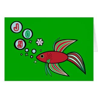 Den Betta fisken på jul bubblar av glädje Hälsningskort