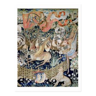 Den bevingada hjorten (tapestryen) vykort
