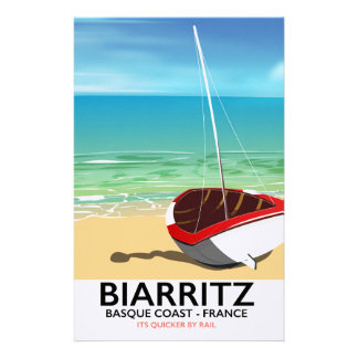 Den Biarritz frankrikestranden reser affischen Brevpapper