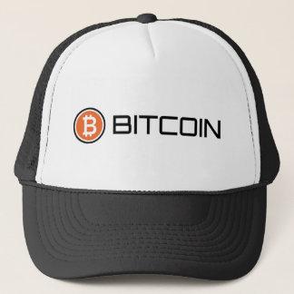 Den Bitcoin logotypen kopplar ihop hatten Truckerkeps