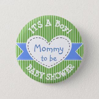 Den blått görade randig baby shower knäppas mamman standard knapp rund 5.7 cm