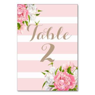 Den blom- Peonie bordsnumret Cards bröllop Bordsnummer