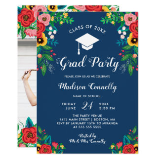 Den Boho folken blommar studentfesten 12,7 X 17,8 Cm Inbjudningskort