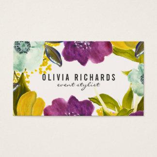 Den Boho vattenfärgen blommar | den blom- Visitkort