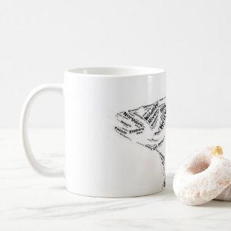 Den borta fiskefisken formar muggen för kaffemugg