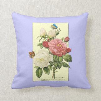 Den botaniska rosa vit rosfjärilen kudder kudde