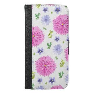 Den botaniska vattenfärgen blommar rosa lilor iPhone 6/6s plus plånboksfodral