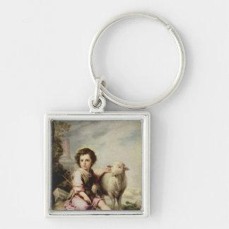 Den bra herden, c.1650 fyrkantig silverfärgad nyckelring