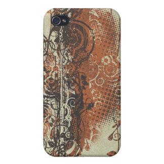 Den brända Retro GrungeDamask för korall iPhonen iPhone 4 Cover