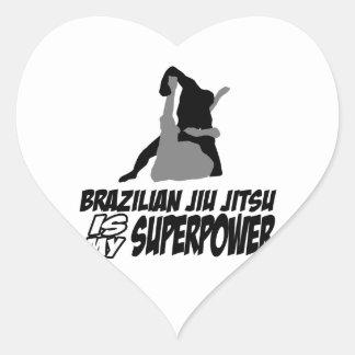 Den brasilianska jiujitsuen är min superpower hjärtformat klistermärke