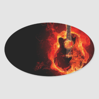 Den brinna gitarren, orange flammar musikrockband ovalt klistermärke