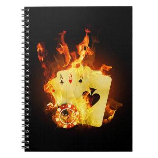 Den brinna poker Cards anteckningsboken Anteckningsbok