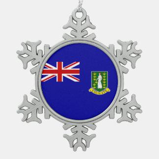 Den British Virgin Islands flagga Snöflinga Pewter Julgransprydnad
