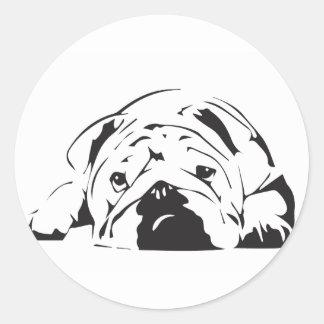 Den brittiska bulldoggen stencilerar runt klistermärke