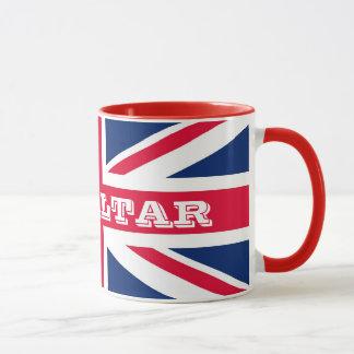 Den brittiska flagga med Gibraltar sätta en klocka Mugg